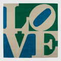 Textiles, Robert Indiana (1928-2018). Chosen Love, c. 1995. Skein dyed, hand carved and hand tufted archival New Zealand wool on s...