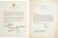 Autographs:U.S. Presidents, Ronald Reagan and Gerald Ford Typed Letters (2) Signed.... (Total: 2 Items)