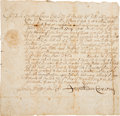 Autographs, [Salem Witch Trials]. Jonathan Corwin Document Signed....