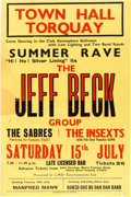 """Music Memorabilia:Posters, Jeff Beck """"Summer Rave"""" Town Hall Torquay England Concert Poster(1967)...."""