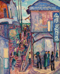 Fine Art - Painting, American, Jerome S. Blum (American, 1884-1956). Stairway with Figures,China, 1916. Oil on canvas. 18-1/4 x 15 inches (46.4 x 38.1...