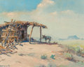 Fine Art - Painting, American, Olaf Wieghorst (American, 1899-1988). Peon. Oil on canvas.16 x 20 inches (40.6 x 50.8 cm). Signed lower left: O.Wieg...