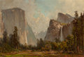 Fine Art - Painting, American, Thomas Hill (American, 1829-1908). Gates of Yosemite and BridalVeil Falls. Oil on board. 14 x 21 inches (35.6 x 53.3 cm...