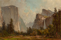 Thomas Hill (American, 1829-1908) Gates of Yosemite and Bridal Veil Falls Oil on board 14 x 21 in