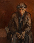 Fine Art - Painting, American, Moses Soyer (American, 1899-1974). New York Man. Oil oncanvas. 25 x 20 inches (63.5 x 50.8 cm). Signed upper left:M....
