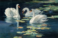 Paintings, Ken Carlson (American, b. 1937). Spring Lilies - Mute Swans. Oil on Masonite. 20 x 30 inches (50.8 x 76.2 cm). Signed lo...