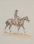 Fine Art - Work on Paper, Olaf Wieghorst (American, 1899-1988). Cowboy on Horseback.Ink, watercolor, and gouache on paper. 9-3/8 x 7-3/8 inches (...