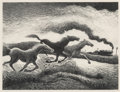 Prints & Multiples, Thomas Hart Benton (1889-1975). Running Horses, 1955. Lithograph on paper. 12-1/2 x 16-5/8 inches (31.8 x 42.2 cm) (imag...