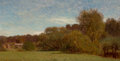 Fine Art - Painting, American, Samuel Colman (American, 1832-1920). New England Landscape. Oil on board. 7-1/4 x 14-1/4 inches (18.4 x 36.2 cm). Signed...