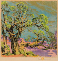 Gustave Baumann (German/American, 1881-1971) Cedar -- Grand Canyon Woodblock print in colors 13 x