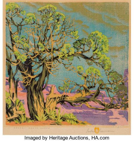 Gustave Baumann (German/American, 1881-1971)Cedar -- Grand CanyonWoodblock print in colors13 x 13 inches (33.0 x 3...