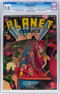 Planet Comics #1 Billy Wright Pedigree (Fiction House, 1940) CGC FN/VF 7.0 Off-white pages