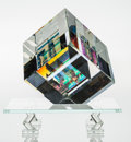 Art Glass:Other , Toland Peter Sand (American, born 1949). Split Cube onStand. Dichroic glass. 12-1/4 x 11-1/2 x 11-1/4 inches (31.1 x29...