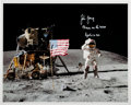 """Explorers:Space Exploration, John Young Signed Apollo 16 Lunar Surface """"Leaping Flag Salute"""" Color Photo. ..."""