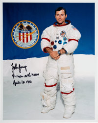 John Young Signed White Spacesuit Color Photo