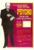 "Movie Posters:Hitchcock, Psycho (Paramount, 1960). Poster (40"" X 60"").. ..."
