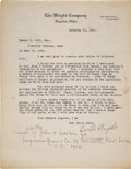 Autographs:Inventors, Orville Wright Typed Letter Signed ...