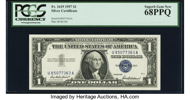Small SizeSilver Certificates Fr 1619 1 1957 Silver Certificate PCGS Superb