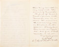 Autographs:Military Figures, Robert Todd Lincoln Letter Signed ...