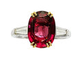 Estate Jewelry:Rings, Burma Spinel, Diamond, Platinum, Gold Ring. ...