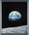 """Explorers:Space Exploration, Alan Bean Signed Limited Edition """"Mother Earth"""" Giclée Canvas., #33/125. ..."""