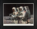 """Explorers:Space Exploration, Alan Bean Signed Limited Edition """"Helping Hands"""" Print, #842/850, in Framed Display. ..."""