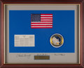 Explorers:Space Exploration, Apollo 12 Flown American Flag and Space Treaty on a Crew-Signed Mat, Originally from the Personal Collection of Mission Lunar ...