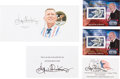 Explorers:Space Exploration, Gene Kranz: Collection of Five Signed Items (Six Signatures) including Two Limited Edition Panini Souvenir Stamps....