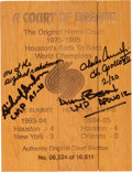 """Explorers:Space Exploration, Apollo 12 Crew-Signed Limited Edition Souvenir """"A Court of Dreams"""" Floorboard Section from The Summit in Houston, Texas. ..."""