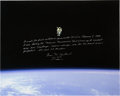 Explorers:Space Exploration, Bruce McCandless Signed, with Extensive Handwritten Description, Large STS-41-B Untethered Spacewalk Color Photo with Photo Pr...