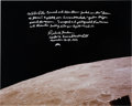 "Explorers:Space Exploration, Richard Gordon Signed Large Apollo 12 ""Earthrise"" Style Color Photo with Extensive Handwritten Description and Photographic Pr..."