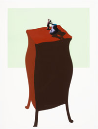 Ken Price (1935-2012) French Figurine Cup, from Interior Series, 1971 Screenprint in colo