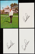 Autographs:Index Cards, Arnold Palmer and Sam Snead Signed Lot of 4....