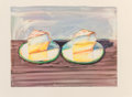 Fine Art - Work on Paper:Print, Wayne Thiebaud (b. 1920). Two Meringues, 2002. Lithograph incolors on Arches paper. 18 x 23-7/8 inches (45.7 x 60.6 cm)...