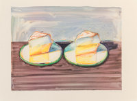 Wayne Thiebaud (b. 1920) Two Meringues, 2002 Lithograph in colors on Arches paper 18 x 23-7/8 inc