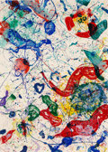 Prints & Multiples, Sam Francis (1923-1994). Untitled, 1986-87. Screenprint in colors, on Inveresk Exeter paper. 84 x 60 inches (213.4 x 152...