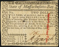 Colonial Notes:Massachusetts, Massachusetts May 5, 1780 $2 Internal Punch Cancel Choice About New.. ...