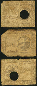 Continental Currency May 10, 1775 $2 Good-Very Good; Continental Currency May 20, 1777 $2 Hole Cancel Good-Very