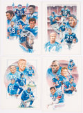 Football Collectibles:Others, New York Giants Original Artwork Lot of 4....