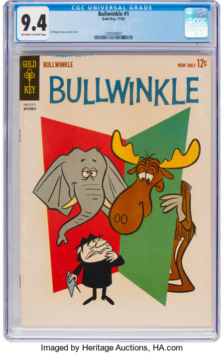 Bullwinkle #1 (Gold Key, 1962) CGC NM 9.4 Off-white to white pages....