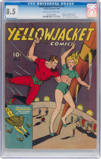 Yellowjacket Comics #1 (Frank Comunale, 1944) CGC VF+ 8.5 Off-white to white pages