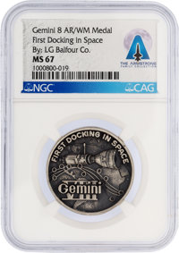 Gemini 8: High Relief Medal MS67 NGC by L. G. Balfour Co. Directly From The Armstrong Family Collection™, Certifie