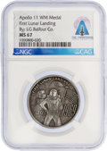 Explorers:Space Exploration, Apollo 11: High Relief Medal MS67 NGC by L. G. Balfour Co. Directly From The Armstrong Family Collection™, Certified and E...