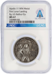 Apollo 11: High Relief Medal MS67 NGC by L. G. Balfour Co. Directly From The Armstrong Family Collection™, Certifi
