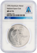 Explorers:Space Exploration, Apollo: 1976 National Space Club Aluminum Medal, MS 67 PL, Minted with Flown Metal, Directly From The Armstrong Family Col...