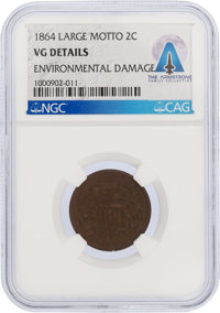 1864 2¢ Large Motto VG DETAILS NGC Directly From The Armstrong Family Collection™, Certified and Encaps
