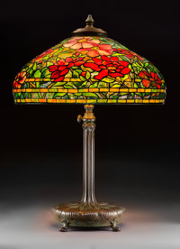 Tiffany Studios Leaded Glass and Bronze Peony Table Lamp Circa 1915. Shade stampe
