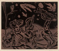 Prints & Multiples, Pablo Picasso (1881-1973). Les danseurs au Hibou, 1959. Linocut in colors on Arches paper. 20-7/8 x 25-1/4 inches (53.0 ...