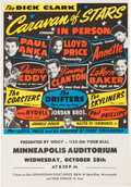 Music Memorabilia:Posters, Duane Eddy/Drifters Minneapolis Auditorium Concert Handbill (Dick Clark, 1959). Very Rare....