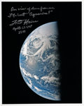 Autographs:Celebrities, Fred Haise Signed Apollo 13 Color Photo of Earth. ...